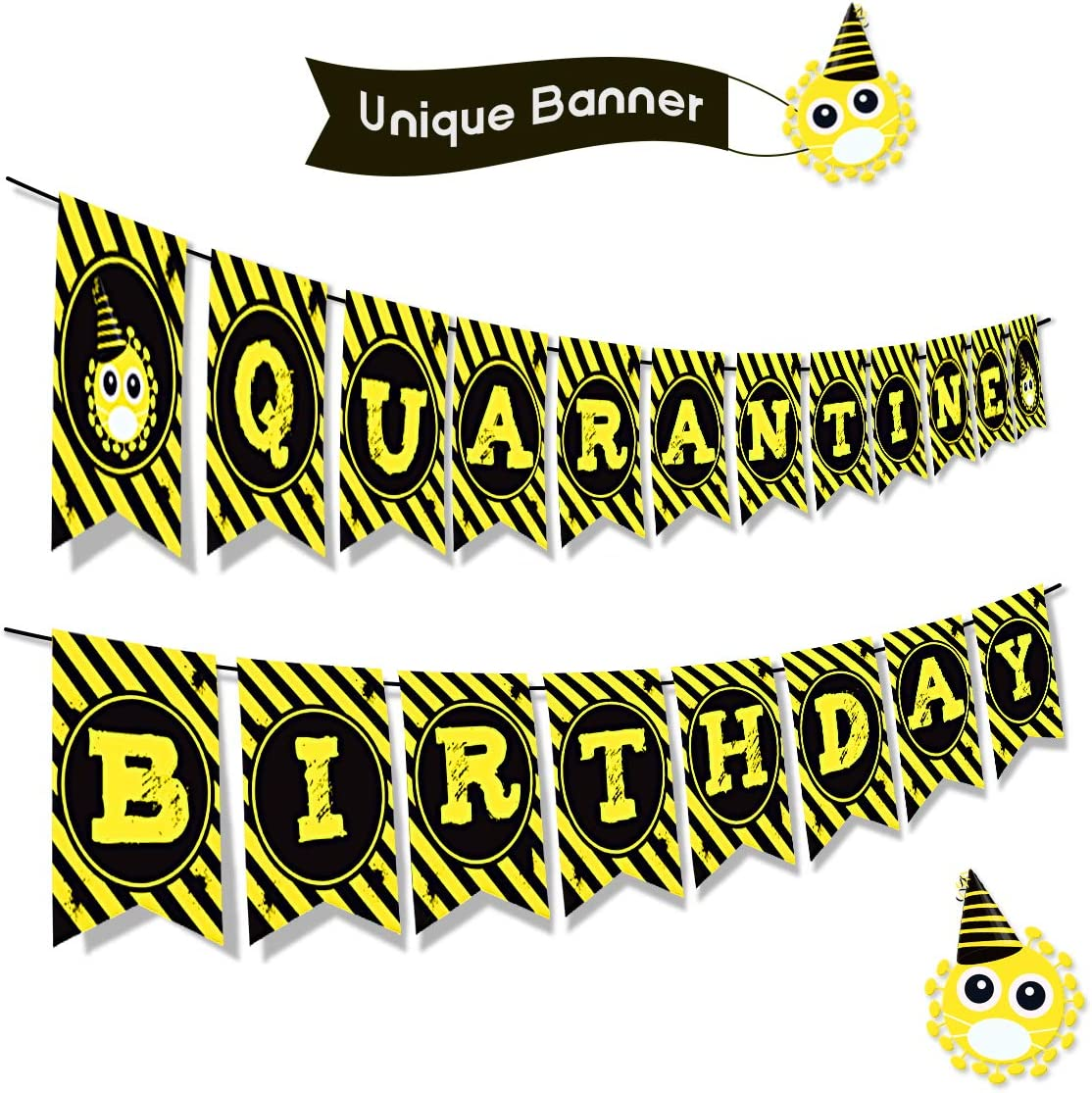 Quarantine Birthday Banner Quarantine Birthday Party Decorations Quarantine Birthday Backdrop Party Favors Happy Birthday Party Supplies Lockdown Stay at Home Party Supplies Yellow