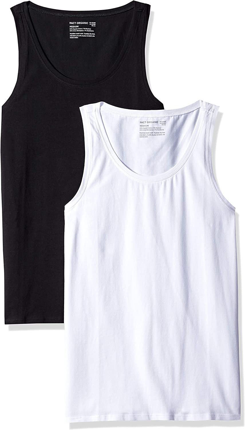 Scoop Neckline Made with Organic Cotton PACT Womens Stretch-Fit Tank Top 2-Pack Black//White