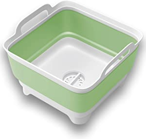 VAMAKO 9L Collapsible Dish tub Portable Sink, Folding Laundry tub, Washing Basin with draining Plug, Collapsable Dish Drainer, Camping Dish Washing tub, Portative wash Dish Basin. Green