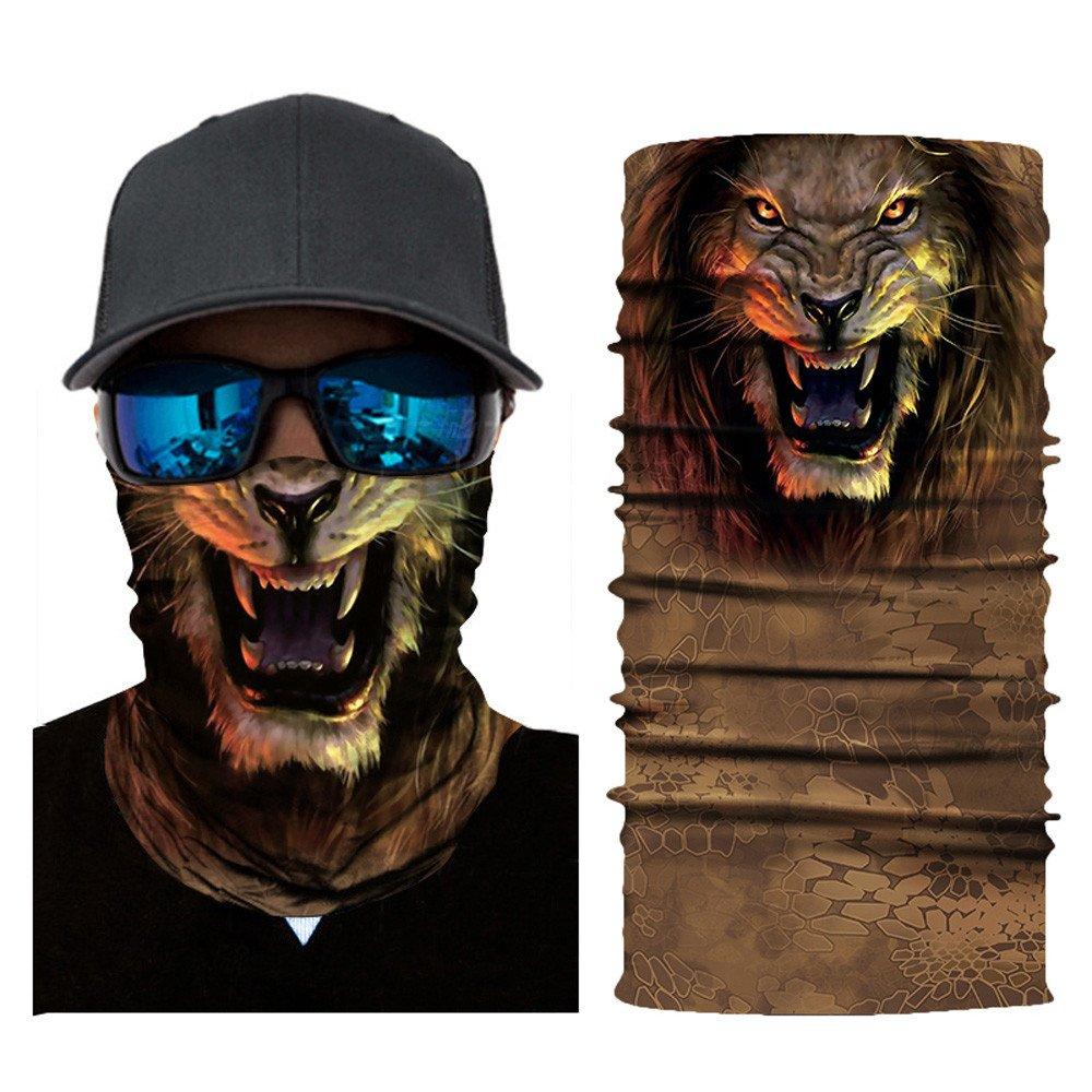 Glumes Face Mask Half Sun Dust Protection Vivid 3D Animal Tube Mask Seamless Durable Face Mask Bandana Skeleton Face Shield Motorcycle Fishing Hunting Cycling Halloween Party (G)