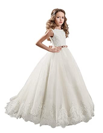 JYDress Flower Girls Dress Lace Princess Wedding Prom Gown First Communion Dresses
