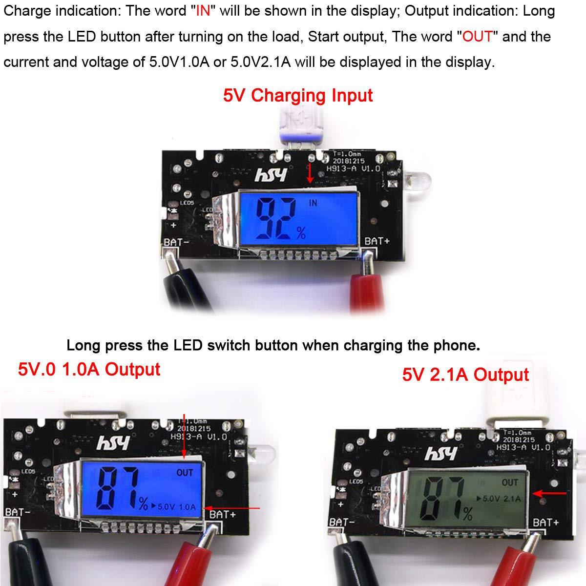 MakerHawk 18650-Battery Charger Box Kit de Bricolaje Pantalla LCD port/átil Incluye 2 unids Dual USB 5V 1A 2.1A 18650-M/ódulo de PCB de Placa de Cargador con Estuche Negro para tel/éfono Celular