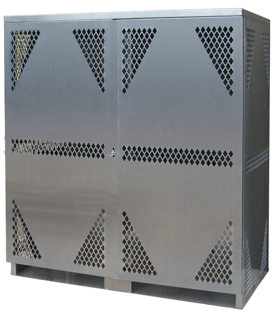 SECURALL LP16S-Vertical LP Storage Cabinet, 8 Cyl Horizontal/5-10 Cyl Vertical Storage, Weather Resistant, Non-Corrosive, Aluminum, 2-Door, 65 x 60 x 32 in, SMaRT Cert, OSHA Regulated, 15 YR Warranty