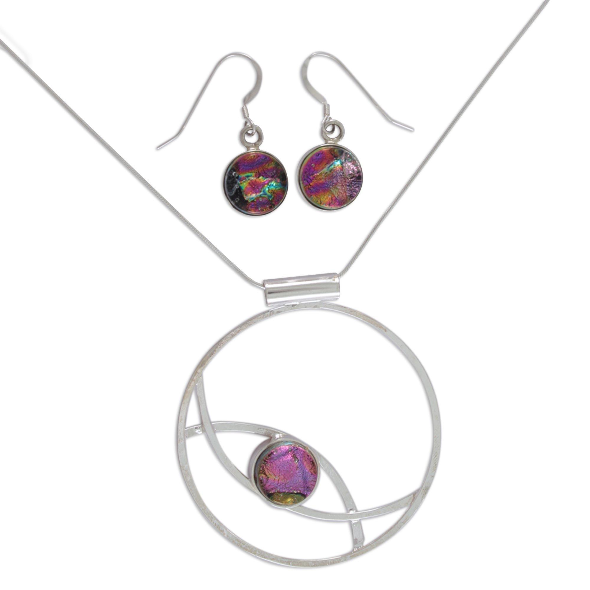 NOVICA .925 Sterling Silver Glass Jewelry Set 'Infinite Color'