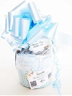 Maxi-Magdalena de Pañales + Chupete SUAVINEX | Baby Shower Gift Idea | Color Azúl
