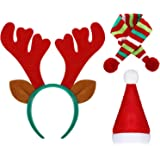 WILLBOND Diadema de cuernos de reno, gorro de Papá Noel y bufanda de rayas para mascotas, accesorio para perro, cachorro, gat