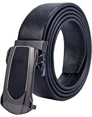 Men's Belt Genuine Leather Ratchet Dress Belt with Automatic Buckle