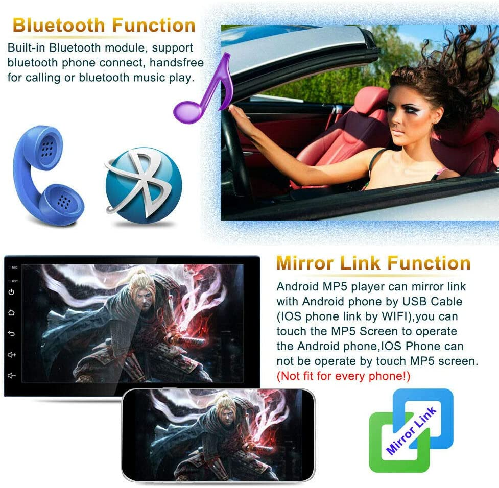 Binize Android 9.1 7 Inch HD Quad-Core 2 Din Car Stereo Radio Multimedia Player NO-DVD GPS Navigation in Dash AutoRadio Bluetooth USB WiFi 2G RAM 32G ROM