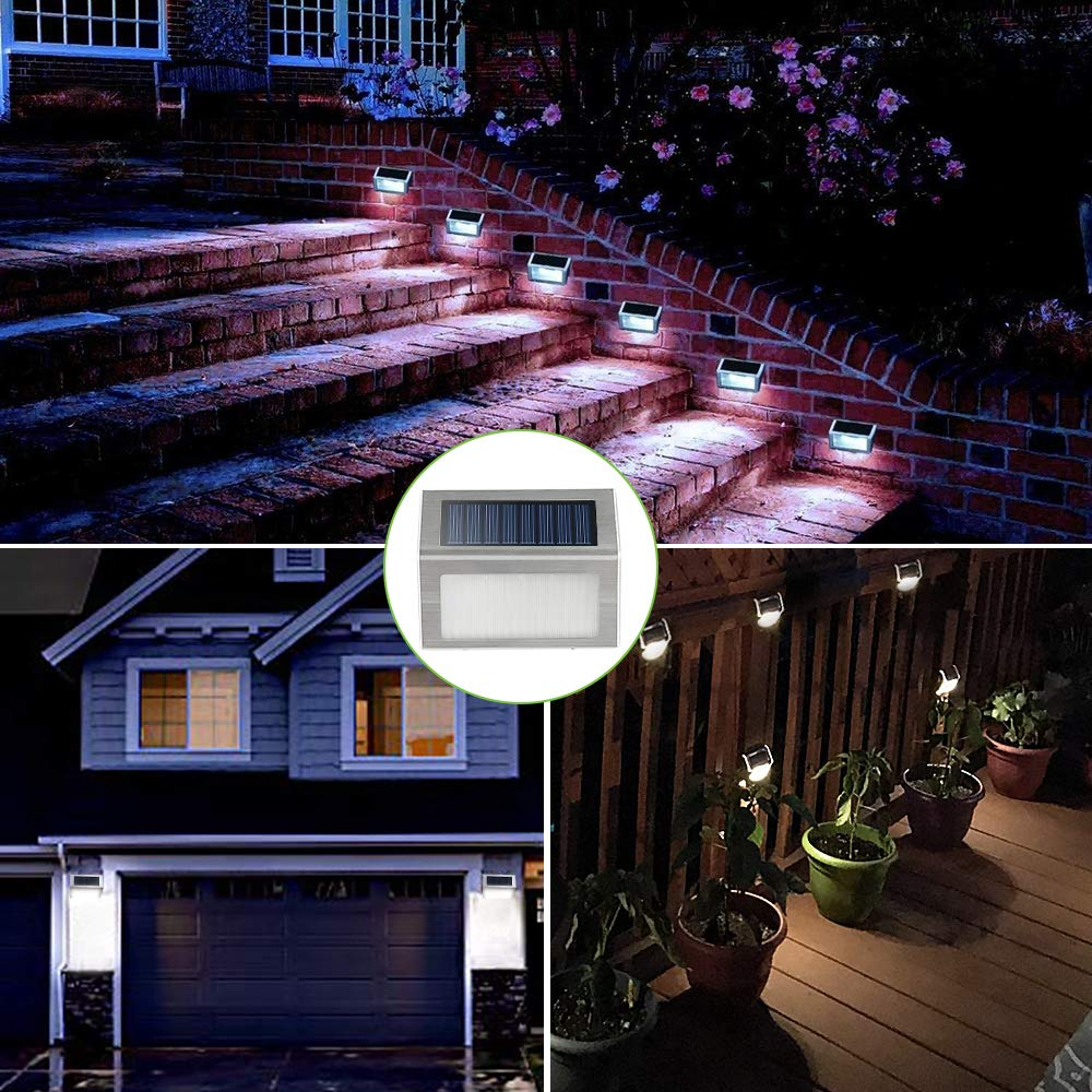 Solar Deck Lights, KASUN Super Bright LED Walkway Light Stainless Steel Waterproof Outdoor Security Lamps for Patio Stairs Garden Pathway (White Light - 12PCS) by KASUN (Image #2)
