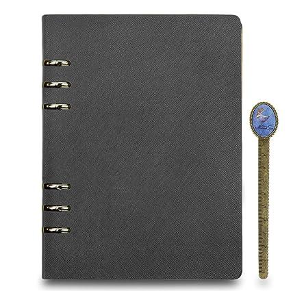 Agenda/archivador de cuero rellenable, tamaño A5, tapa dura, cuaderno