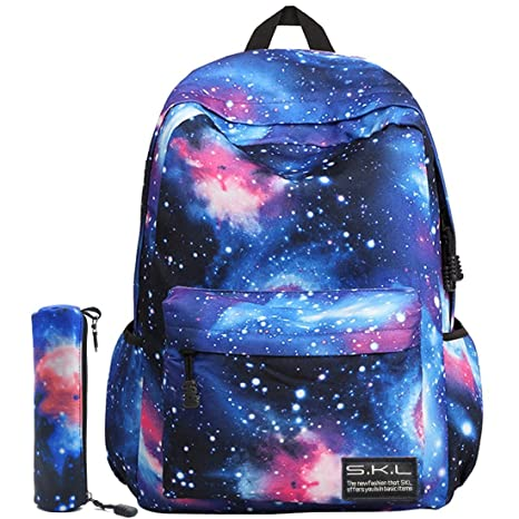 18d399d4b Mochilas Escolares Juveniles SKL Mochila Galaxia Infantiles Para Niños  Casual Lona (Azul)
