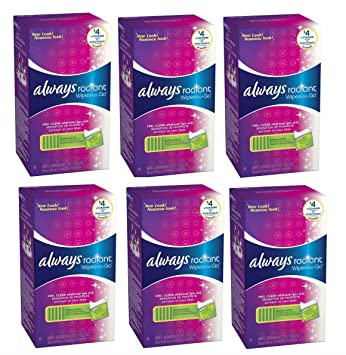 Always Radiant Wipes-To-Go 46 Count, Pack of 6
