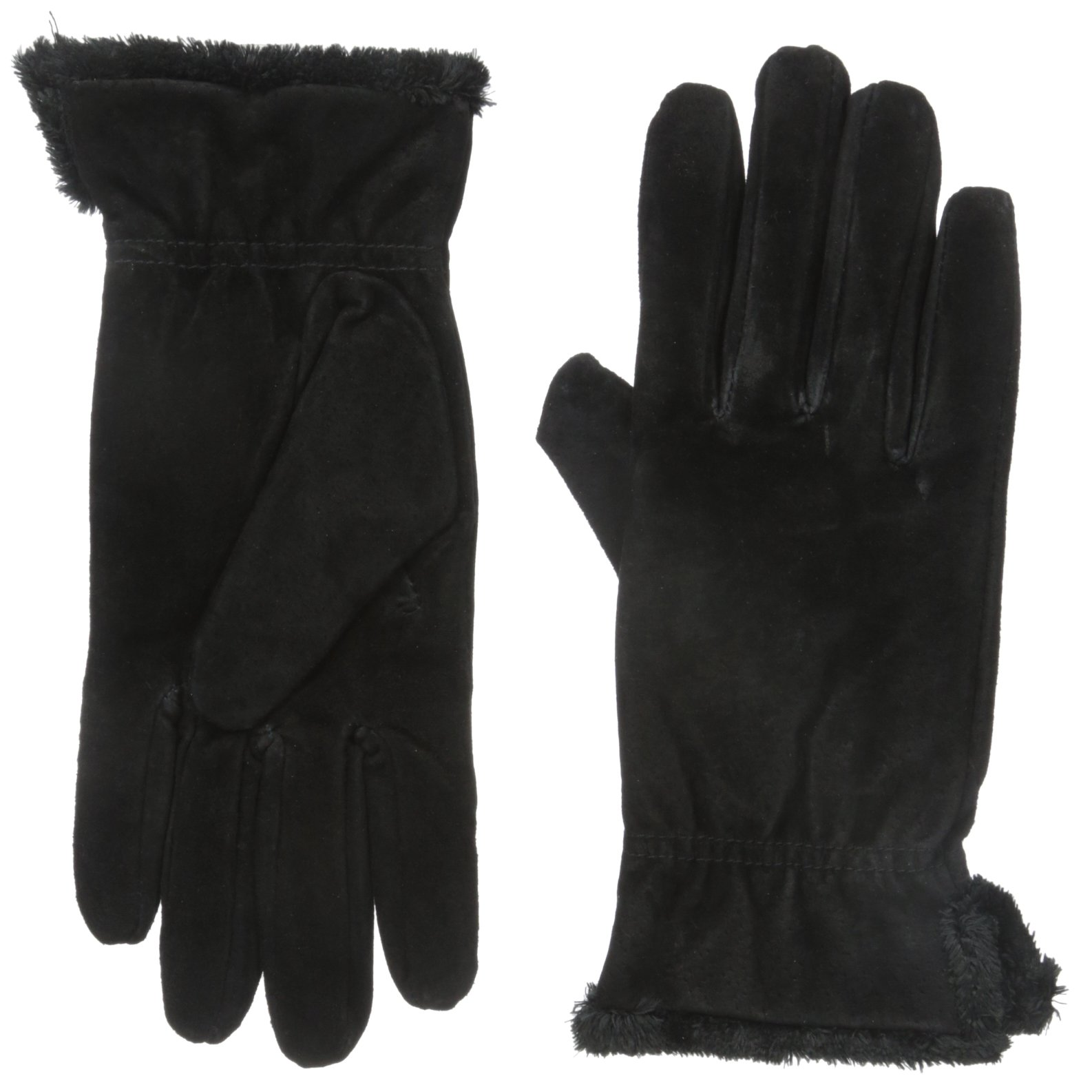 isotoner Women's Genuine Suede Cold Weather Gloves with Warm, Soft Lining