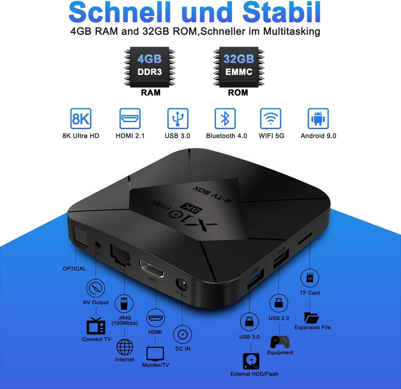 XGODY Android TV Box,4GB+32GB X10 MAX Android 9.0 Smart Media Box mit S905X3 Quad-Core Cortex-A55,8K HDR// HDMI 2.1// H.265// USB3.0,Bluetooth WiFi 2.4G//5G Streaming Box