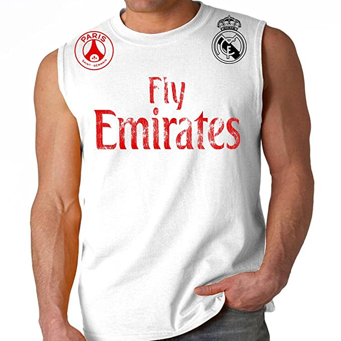 newest 1b390 d73aa Amazon.com: MMA Customs Fly Emirates Paris Real Madrid Adult ...