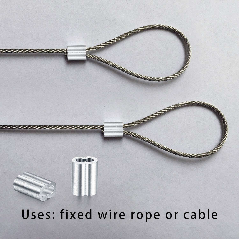 Lot de 100 pinces /à sertir pour c/âble en aluminium 8 trous en forme de c/âble en acier pince /à manchon en aluminium 3 mm