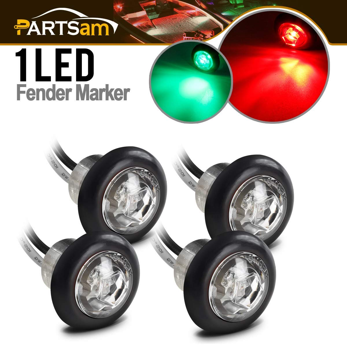 Partsam 4 Pcs 3/4'' Inch Mount Clear Lens LED Clearance Bullet Marker lights Sidelights, Sealed Round Mini Marine Boat RV LED Courtesy Lights Garden Accent Deck Lamp(2Red+2Green)