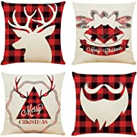 """Acronde 4PCS 18""""x18"""" Throw Pillow Covers Christmas Decoration Cotton Linen Square Cushion Cover Couch Pillow Cases for Couch Sofa Home and Car"""