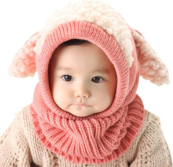 aae1a9e23 Tuopuda Baby Girls Boys Toddler Winter Hat Scarf Set Cutest Earflap Hood  Warm Knit Hat Scarves with Ears Snow Neck Warmer Skull Cap for Kids 6-36 ...