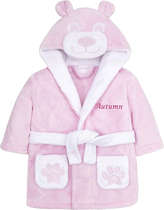 BABY TOWN Personalised Girls Pink Hooded Embroidered Dressing Gown 12-18 18-24 Months