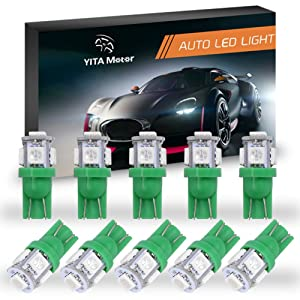 YITAMOTOR 10PCS T10 Wedge 5-SMD 5050 Green LED Light Bulbs W5W 2825 158 192 168 194 12V DC