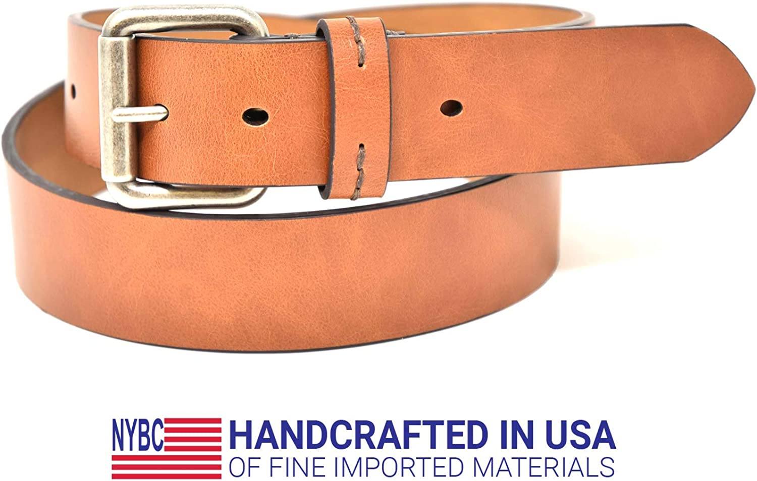 Brown/and Tan 1.5 Wide/7 Hole Jean Belt Black Antique Nickel Roller Buckle NYBC Mens Belt Made in the USA