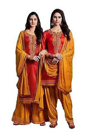 ee739f98ef3 Amazon.com  Delisa India Pakistani Salwar Kameez for Women Punjabi Patiyala  Plazzo Fully Stitched Suit Party wear for Women  Clothing