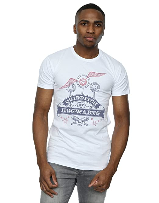 HARRY POTTER Hombre Quidditch At Hogwarts Camiseta Small Blanco