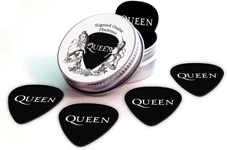Queen Black Guitarra Púas With Tin Lata Band Logo (HB): Amazon.es ...