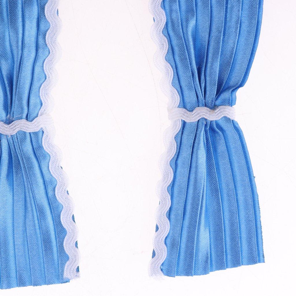 Blau MagiDeal Handgemachter Miniatur Vorhang Vorh/änge F/ür 1//12 Puppenhaus Wohnzimmer Dekoration