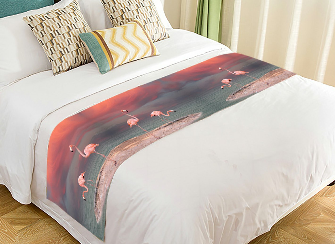 PicaqiuXzzz Custom Watercolor Animal Bed Runner, Tropical Beach Pink Flamingo Bed Runners And Scarves Bed Decoration 20x95 inch