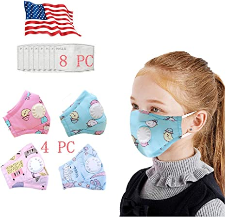 Kids Face Bandanas with Detachable Eyes Shield /& Breathing Valve Washable Reusable Cotton Bandana with 2 Pads for Girls Boys School Student
