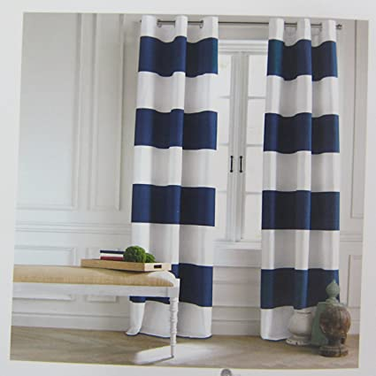 Amazoncom Tommy Hilfiger Cabana Stripe Curtains 2 Panels 50 by 96