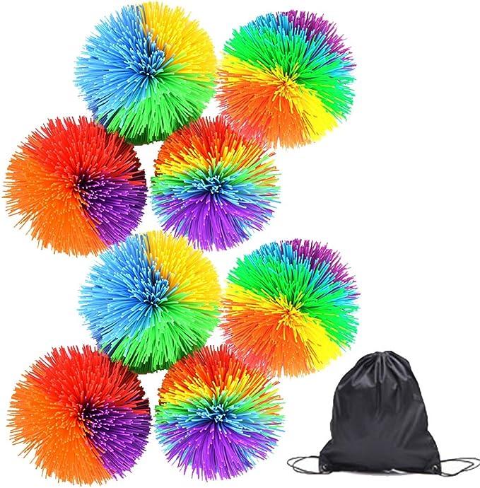 Colorful Stringy Play Balls 8 Pcs Sensory Fidget Stringy Fun Toy Stress Balls Rainbow Pom Bouncy Stress Balls Colorful Fidgets Toys with Drawstring Bag for Kids Adults, Gift Set Bundle,Vidillo