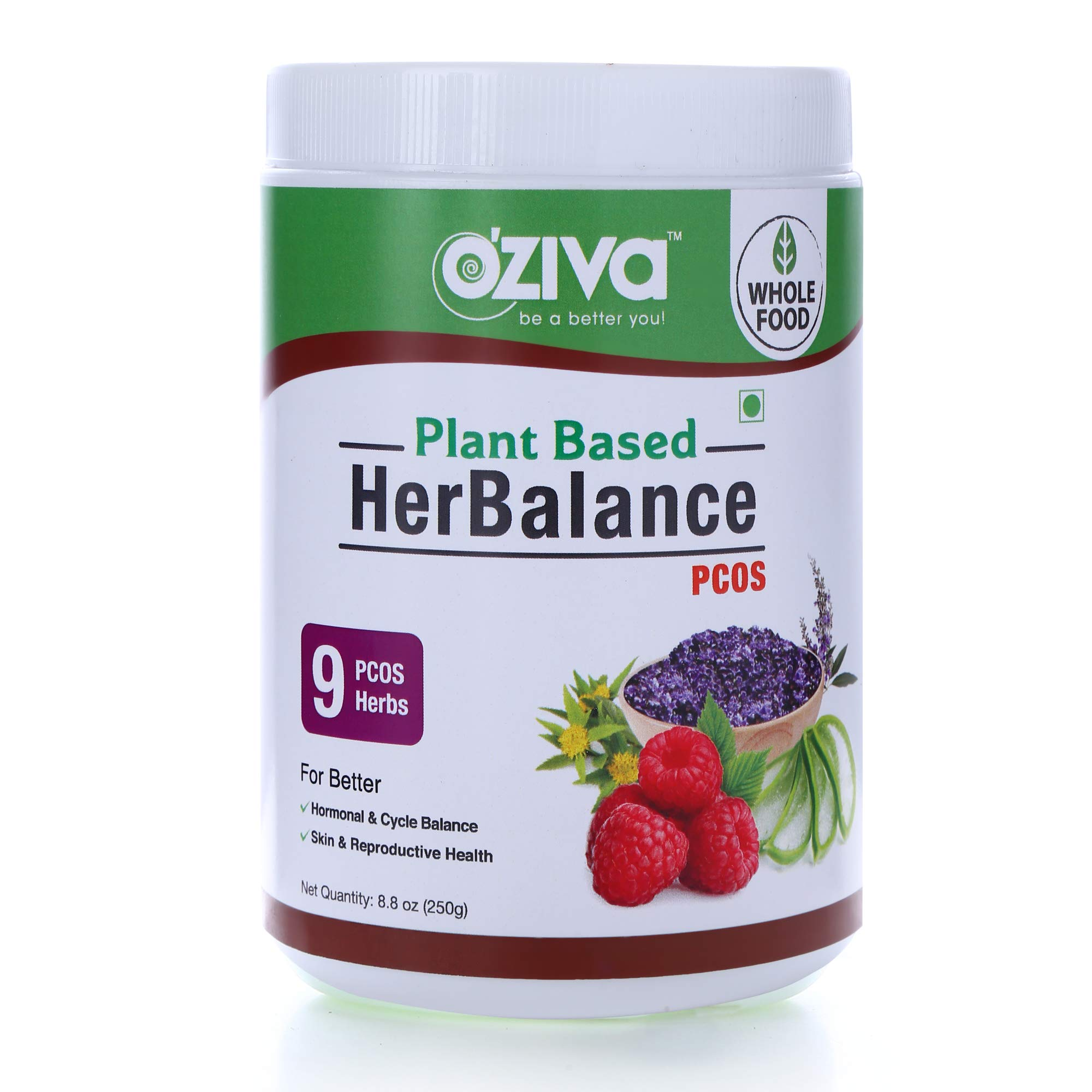 OZiva Plant Based HerBalance PCOS with Chasteberry (Vitex), Rhodiola Rosea, Red Raspberry, Shilajit, Ashoka & More for Better Hormone & Cycle Balance, Facial Hair, Reproductive Health 0.55 lbs