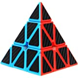 Aiduy Triangle Pyramid Cube, Carbon Fiber Sticker Rubix Cube for Brain Teasers and Speed Cubing Beginners