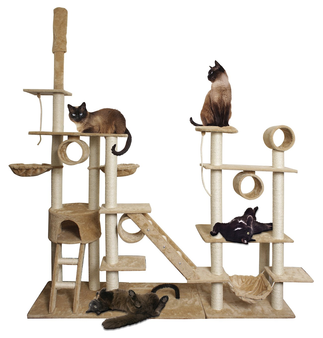 Paws & Pals 76''x20''x96'' Cat Tree House w/Scartching Post Towers, Hammock Bed, Pet Toy Balls And Ropes, Multi Level Playground, 10 Level Condo w/Tunnels And Stairs - Tan And White