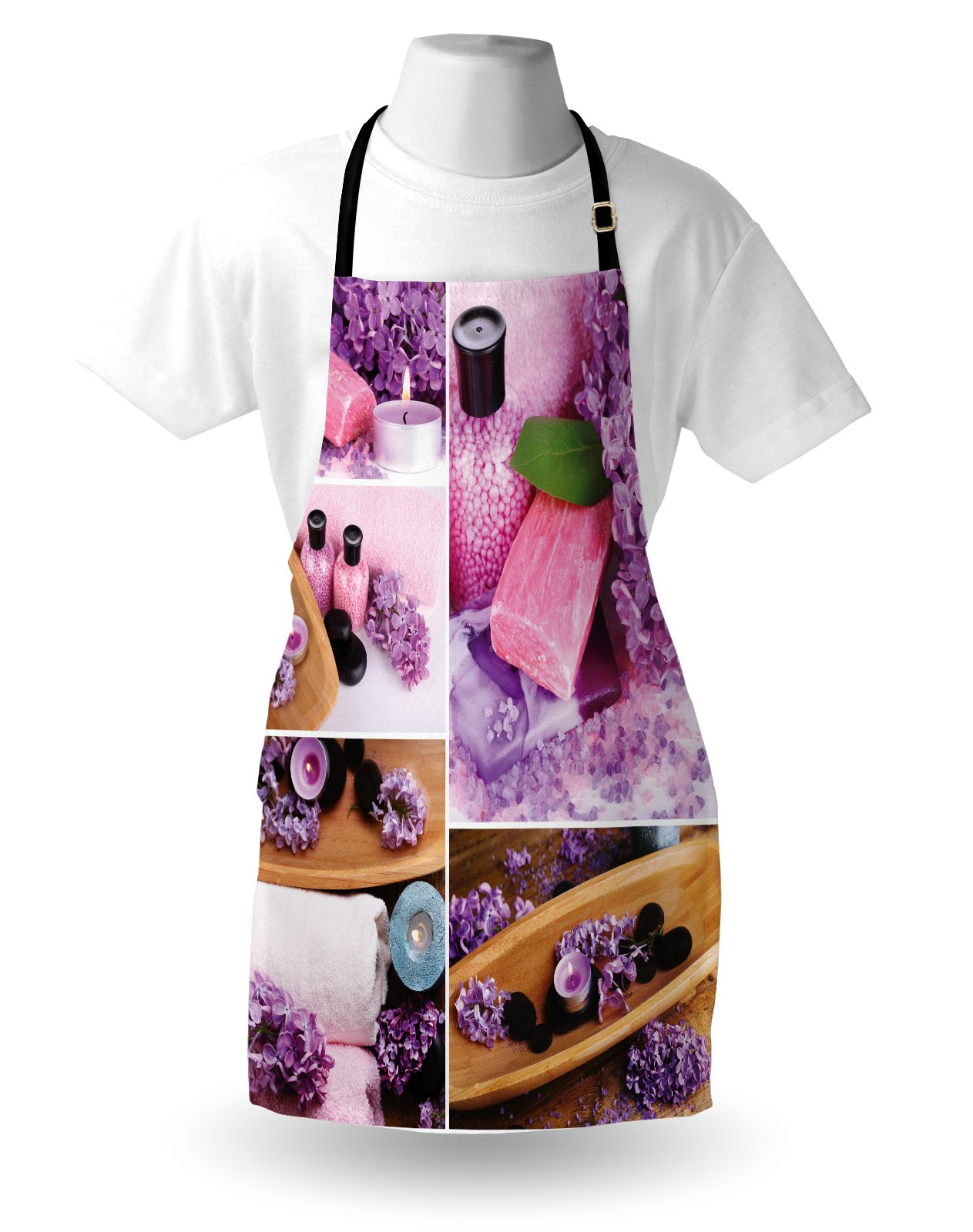 Lunarable Spa Apron, Aromatic Spa with Lilac Petals Fresh Therapy Oils Bath Salt Soap Relax Meditation Collage, Unisex Kitchen Bib Apron with Adjustable Neck for Cooking Baking Gardening, Violet by Lunarable (Image #3)
