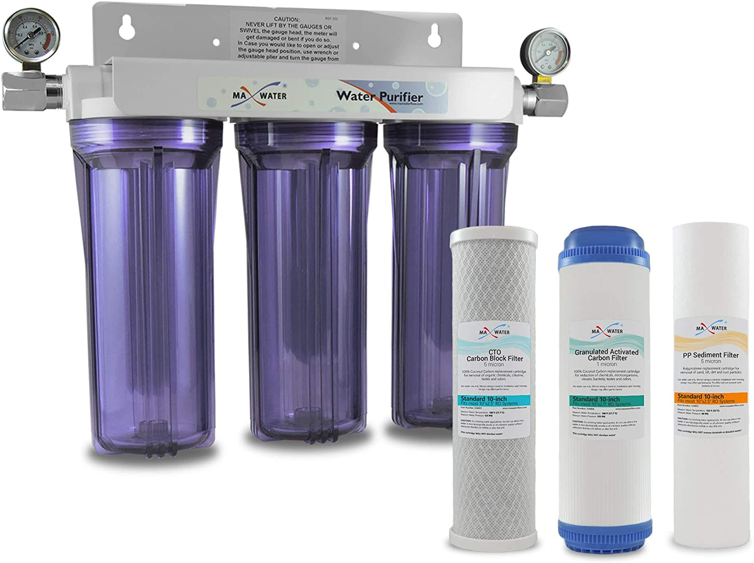 "Max Water Whole House Water Filter, 3 Stage Home Water Filtration System, w/ 10"" x 2.5"" Sediment, GAC, CTO Carbon Water Filters (Chlorine, Taste, and Odor) 3/4"" Ports w/ 2 Dry Pressure Gauge"