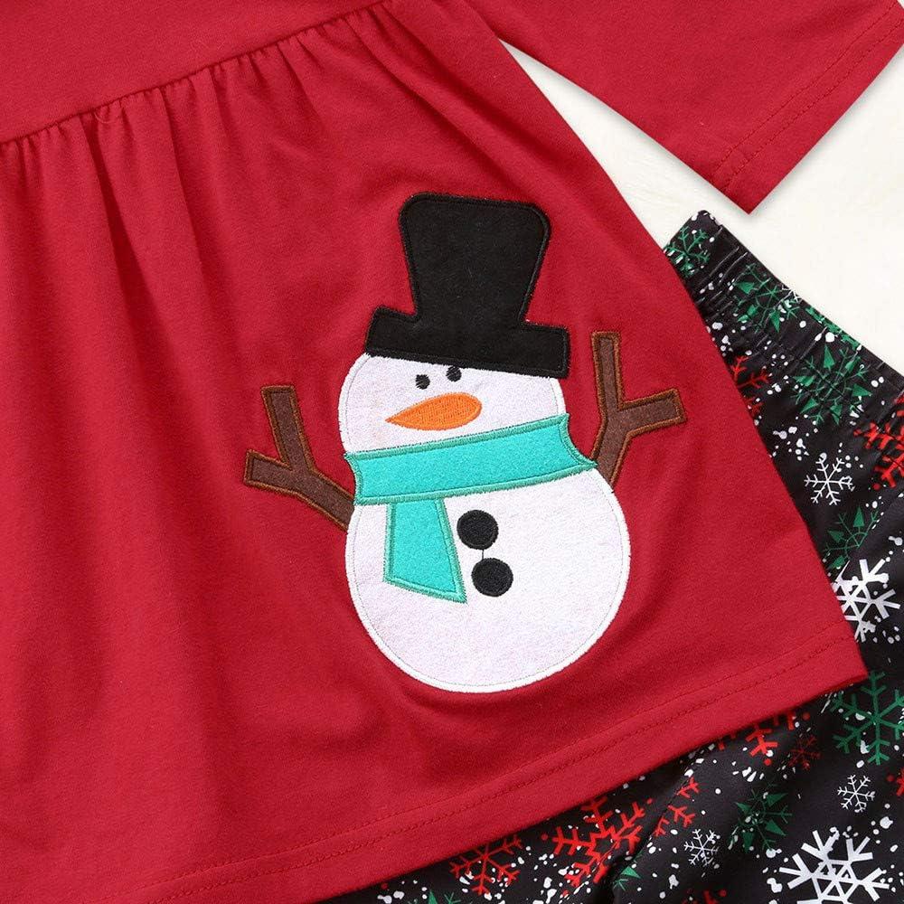 Homebaby Sciarpa Impostato Costume di Natale Regalo Bambini Pantaloni Bambino Ragazzo delle Neonate Natale Stampa di Pupazzo di Neve Completi Top Manica Lunga Felpa