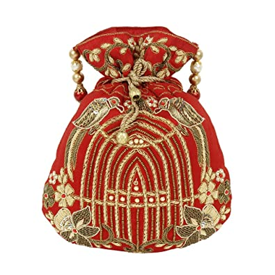 Purse Collection Embroidery Work Beautiful Drawstring Red Colour ... 7294c77df5