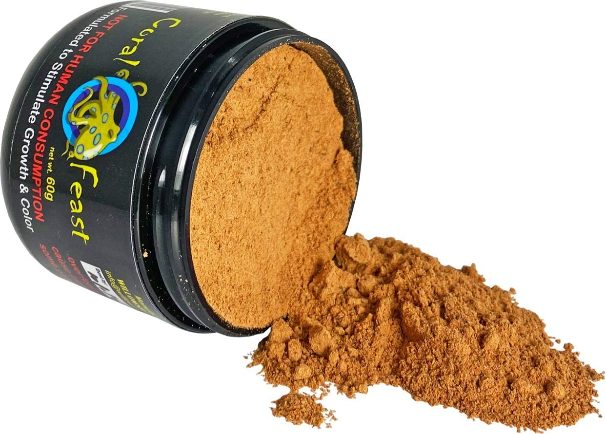 Coral Feast Powdered Quality Coral Food - Improves Color and Growth of Your Coral - 100% Natural Ingredients with Zero Fillers