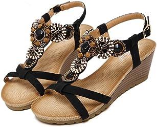 c1957d44ef74d Bohemia Wedge Women Sandals Summer Vintage Rhinestone Woman Flip Flops  Beach Women Shoes