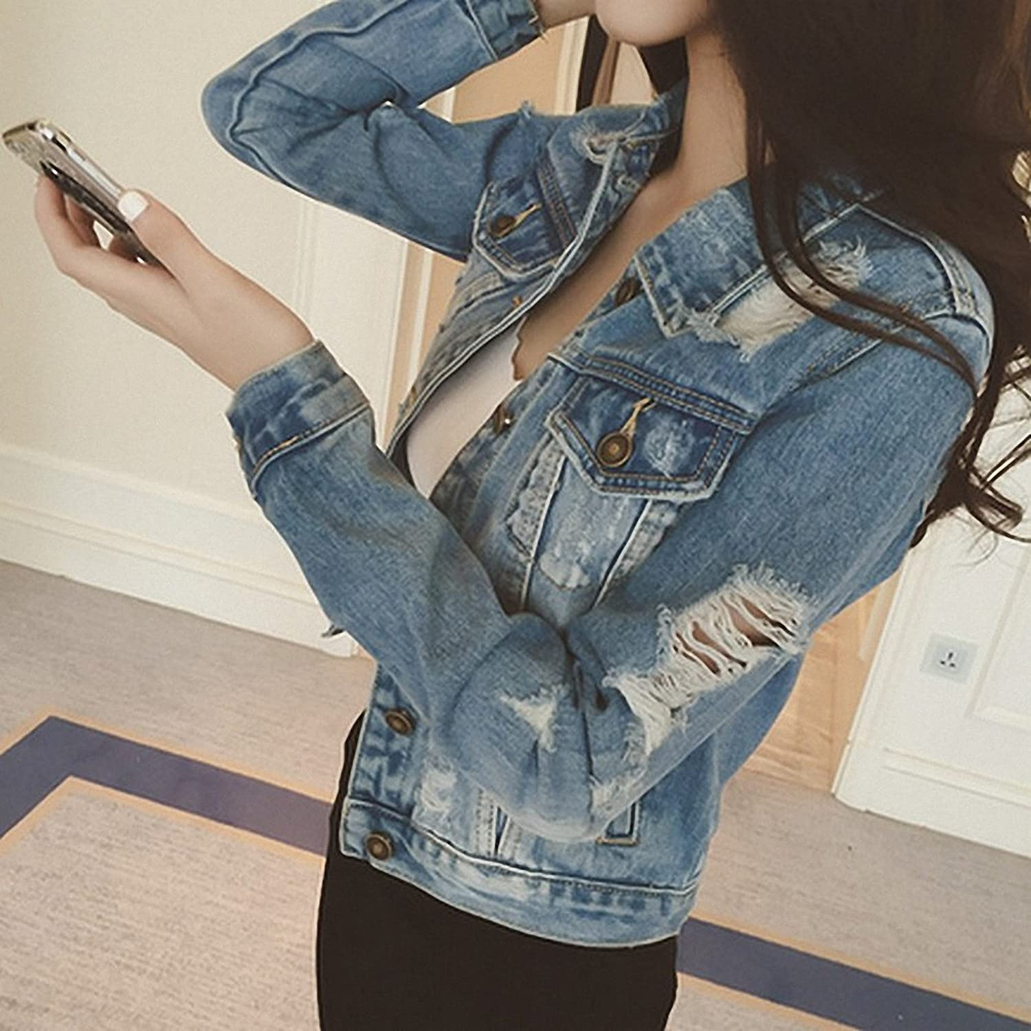 Boyfriends Short Denim Jacket Women NEW Vintage Long Sleeve Chaqueta Mujer Frayed Cool Slim Jaqueta Jeans Feminino S~XL at Amazon Womens Coats Shop