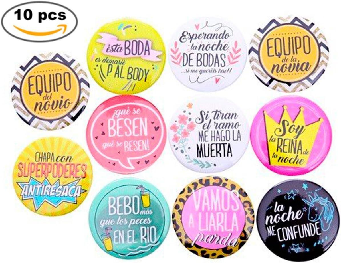 Lote de 11 Chapas Frases Wedding - Chapas Pins para Bodas. Detalles de Bodas, Recuerdos y Regalos Invitados