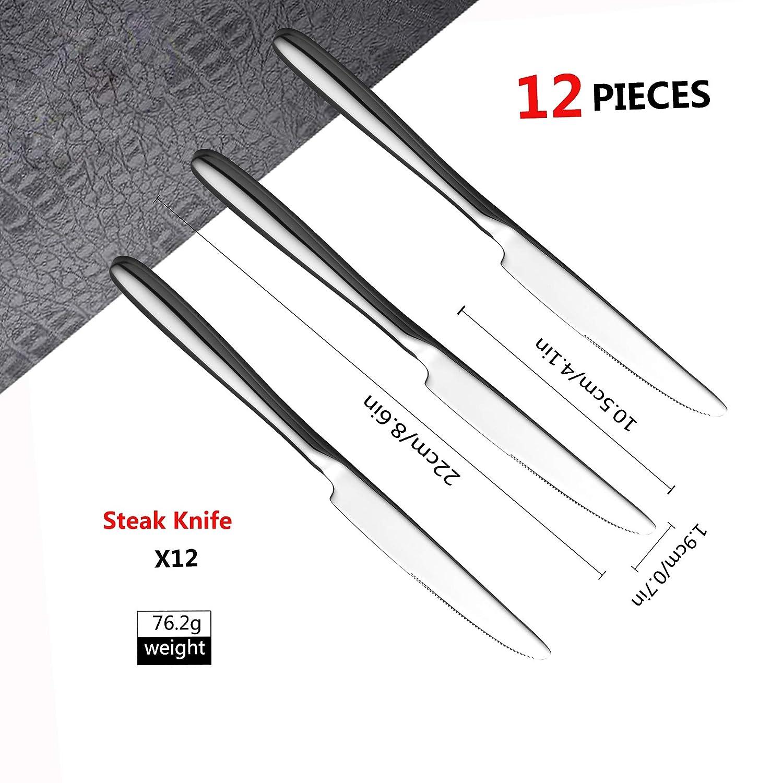 Velaze Juego Cuchillos de Mesa Set 24 Piezas Cuchillos de Carne de Acero Inoxidable 18/10, Plata