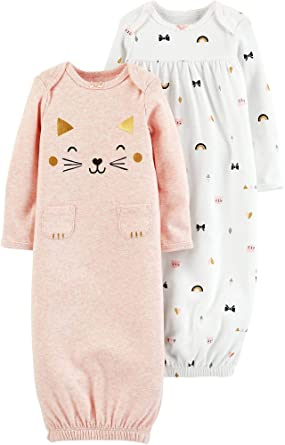47f2ff586 Amazon.com  Carter s Baby Girls  2-Pack Babysoft Sleeper Gowns  Clothing