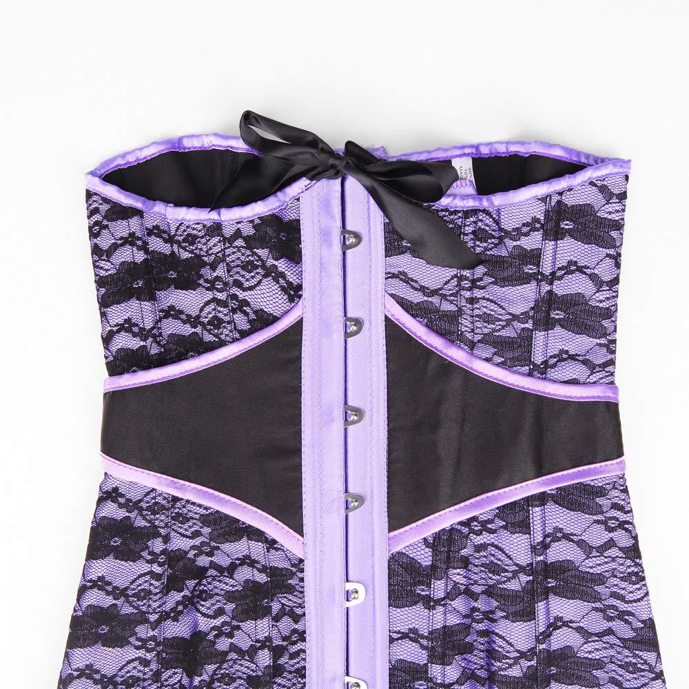 día de San Valentín para Mujeres! Beisoug para Mujer Talla Grande Fajas Sexy Vintage Underbust Encaje Vendaje Cintura Trainer Corsés Body Shaper (Púrpura: ...