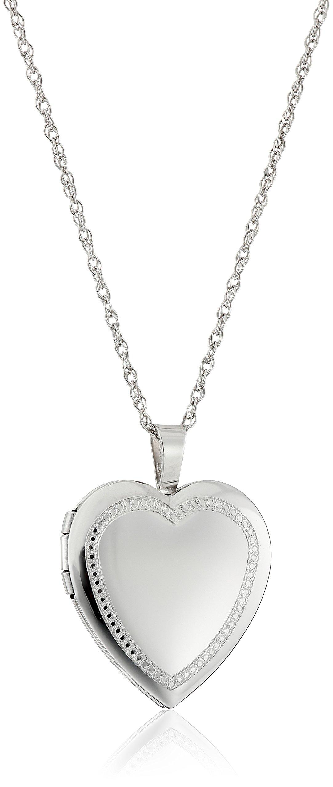 Sterling Silver Heart Millgrain-Edge Locket Necklace, 18''