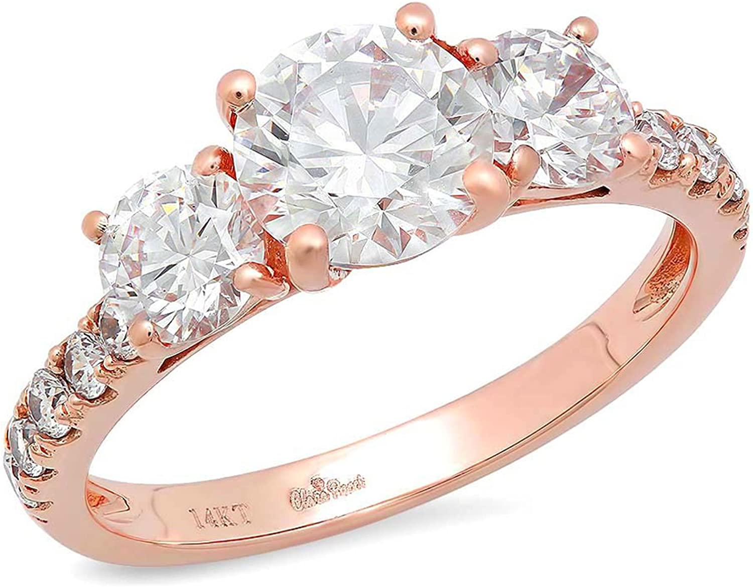 Clara Pucci 1.80 CT Round Cut CZ Pave Three Stone Accent Designer Solitaire Band Ring 14K Rose Gold